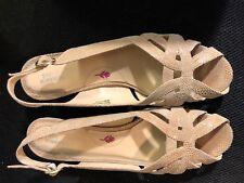 "Shoes, ROS HOMMERSON, beige snakeskin leather, open toe, sling, 2"" heel, SZ: 12M"