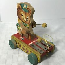 Fisher Price Pull Tiny Teddy Xylophone No 635 Vintage 1962