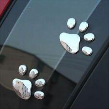 Silver Pet Paw Print Dog Cat Cute Decal Car Window Bumper Sticker Decorations