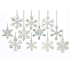 Christmas Ornaments Glass Snowflakes Clear Vintage Decor Xmas Tree 12 Piece