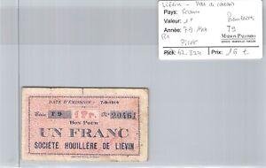 Good Regional Liévin Pas De Calais - 1 Francs 7/9/1914 - R1 - N° 20461