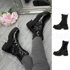 Womens ladies chunky platform combat studded biker military ankle boots size