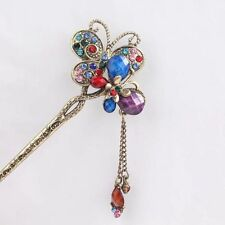 Rhinestone Butterfly Gold Hair Pin