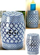 BLUE & WHITE CERAMIC STOOL, SEAT CHAIR PLANT OR SCULPTURE STAND ** NIB