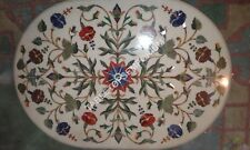 3'x2' Inlay White Marble Side Dining Table Top Home Decor Marquetry Gifts E347