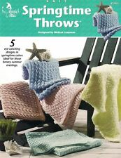 Annie's Attic Springtime Throws to Knit 5 Designs #872891 NEW