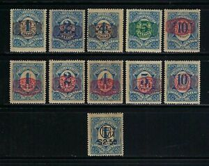 Mexico 1916 Sc#593-603 Postage Due Stamps Surcharged  MH VLH-2 Scans/Toning $22