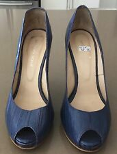 "URBAN SOUL ""Blue Denim"" Peep toe Stiletto Heel Pumps Size 38 (8) Great Classics"