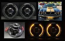 "H6012 H6015 H6024 7"" Amber LED Halo Black Projector Headlights"
