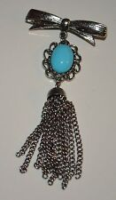 Silver ribbon Blue Cabochon Silver mount and Chain Lapel Pin Brooch