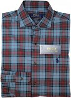 NEW $89 Polo Ralph Lauren Long Sleeve Shirt Mens Blue Red Plaid Cotton Stretch