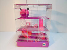 Penthouse rosa y púrpura grande jaula de hámster sirio enano 3 pisos con tubos