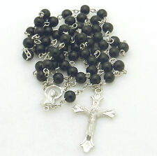 Catholic Rosary Bead Necklace ~ Black Glass Round Beads
