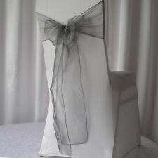 100x Silver Organza Chair Sashes Bows Ties Wedding Banquet Birthday Party Decor
