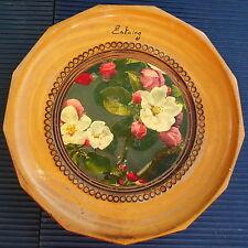 Plat Mural Bois Estaing Vintage Décor Fleurs Artisanal Diam 16 Cm - Collection