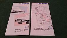 September 1988 HYUNDAI UK PRICE LIST + October 1988 DEALER LIST - Pony Stellar