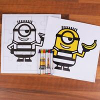 2x MINION & BANANA COLOURING PUZZLE SETS Despicable Me Kids Fun Arts Crafts Game