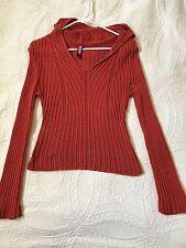 Junior long sleeve burnt orange sweater blouse w/hood - crocheted - Say What