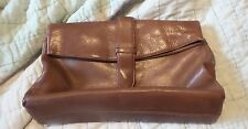Vintage Woodward Soft Brown Leather Clutch Purse Buckle Magnetic Closure