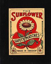 VINTAGE Match Matchbox Label DEEP RICH COLOR Sunflower Sweden B1