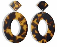Earrings Boho Festival Party Boutique Uk Brown Resin Luxury Animal Round Fashion
