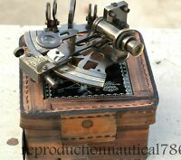 Vintage Solid Brass Marine Sextant Nautical Survey Navy Sextant W/ Leather Box