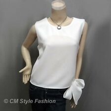 Chic Stylish Bow Tie Blouse Tank Top Off White S