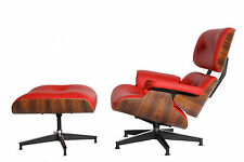 Eames Lounge Chair & Ottoman Reproduction Palisander Red Italian Leather
