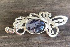 Rare Derbyshire Blue John Solid Silver Vintage Style Fancy Brooch Pin J1720
