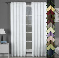 Abri Rod Pocket Solid One Panel Sheer Curtain Window Drape - 13 Colors All Sizes