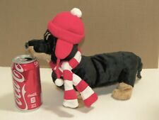 "Ganz Plush OSCAR 12"" Dachshund Dog Tan Black, Red White Christmas Scarf Hat Gift"
