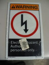 "Lab Safety Supply Warning Sign, 22315PL, 7"" x 10"", Electrical Hazard, New"