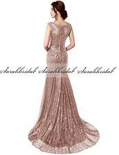 Lang Ballkleid Brautjungfernkleid Abendkleid Partykleid Pailletten-Kleid Gold 32