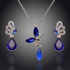 18K WHITE GOLD PLATED SAPPHIRE AUSTRIAN CRYSTAL NECKLACE AND EARRING SET