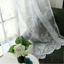 Embroidery Curtain Fabric Pelmet Net Lace Voile Flower Window Panels Fairy White