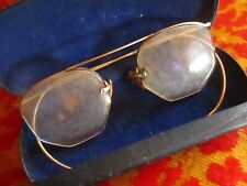 True Vtg 1940s Eye Glasses Frame Rimless Bausch & Lomb Gold Fill Hook Ear Specs