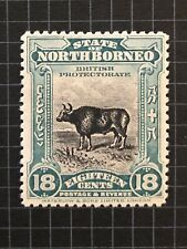 NORTH BORNEO SG175 Stamp 1909 18c BLACK & BLUE-GREEN Unused MH