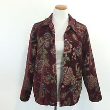 Coldwater Creek Sz Medium Tapestry Jacket Button Front Unlined Washable Womens M
