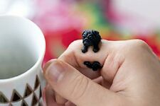 Animal Ring Super Cute Adjustable Black Pug Finger Wrap Jewelry AR-4