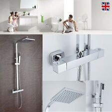 Square Thermostatic Bathroom Shower Kit Twin Head Chrome Adjustable Riser Rail