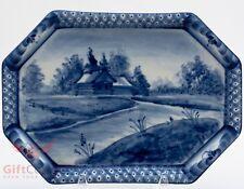 Gzhel wall decor porcelain plate tray hand-painted souvenir village nature river