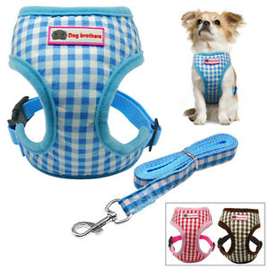 Cute Grid Small Dog Puppy Vest Harness and Lead Leash Set for Chihuahua Poodles