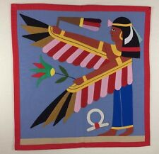 EGYPTIAN 1971 HANDSTITCHED WALL HANGING Goddess Nekhbet / 1 of a Collection
