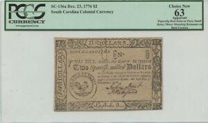 1776 Dec 23 $2 South Carolina Colonial SC-136a PCGS CH New 63
