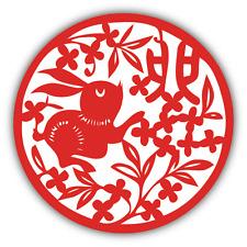 "Rabbit Chinese Zodiac Sign Car Bumper Sticker Decal 5"" x 5"""