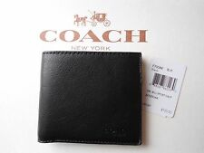 NWT Coach F75084 Bifold 2 Billfold Sport Calf Leather Wallet Black Leather $150