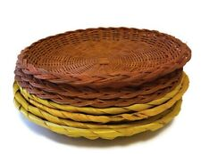 Wicker Paper Plate Holders 4 Yellow and 3 Orange Picnic Paper Plate Holders (7)