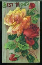 BEST WISHES Large Red and Yellow Roses Vintage 1911 Postcard