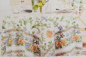 "April Cornell Iris Ecru Tablecloth Easter Farmhouse Floral Wildflowers 70"" Round"