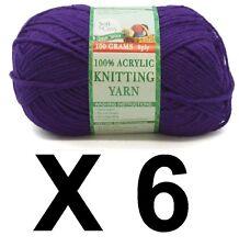 Knitting wool 6 x 100g acrylic yarn 8ply Dark Purple 100% Brand New